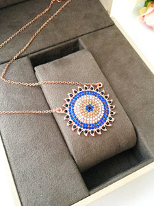 Evil eye necklace, gold evil eye necklace, zircoia sun necklace, everyday jewelry - Evileyefavor