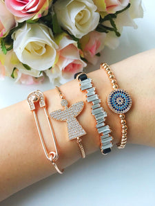 Zircon Angel Bracelets, Adjustable Silver Rose Gold Bracelets - Evileyefavor