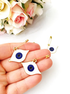 Evil eye safety pin, evil eye brooch, evil eye jewelry, evil eye charm, stroller pin, gold plated evil eye pin, costume jewelry, babyshower - Evileyefavor