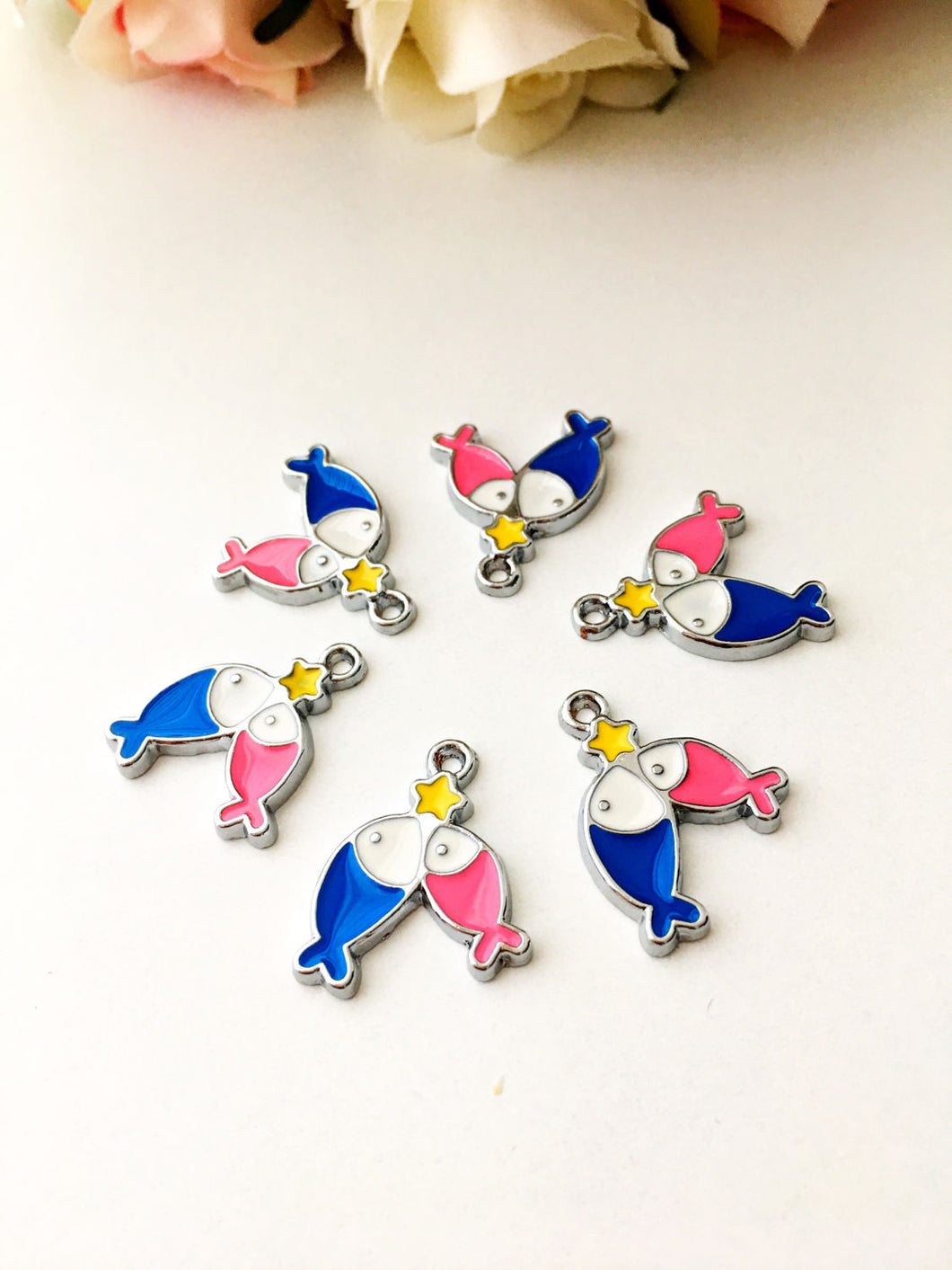 5 pcs tiny fish charms, fish necklace charm, fish star charm beads - Evileyefavor