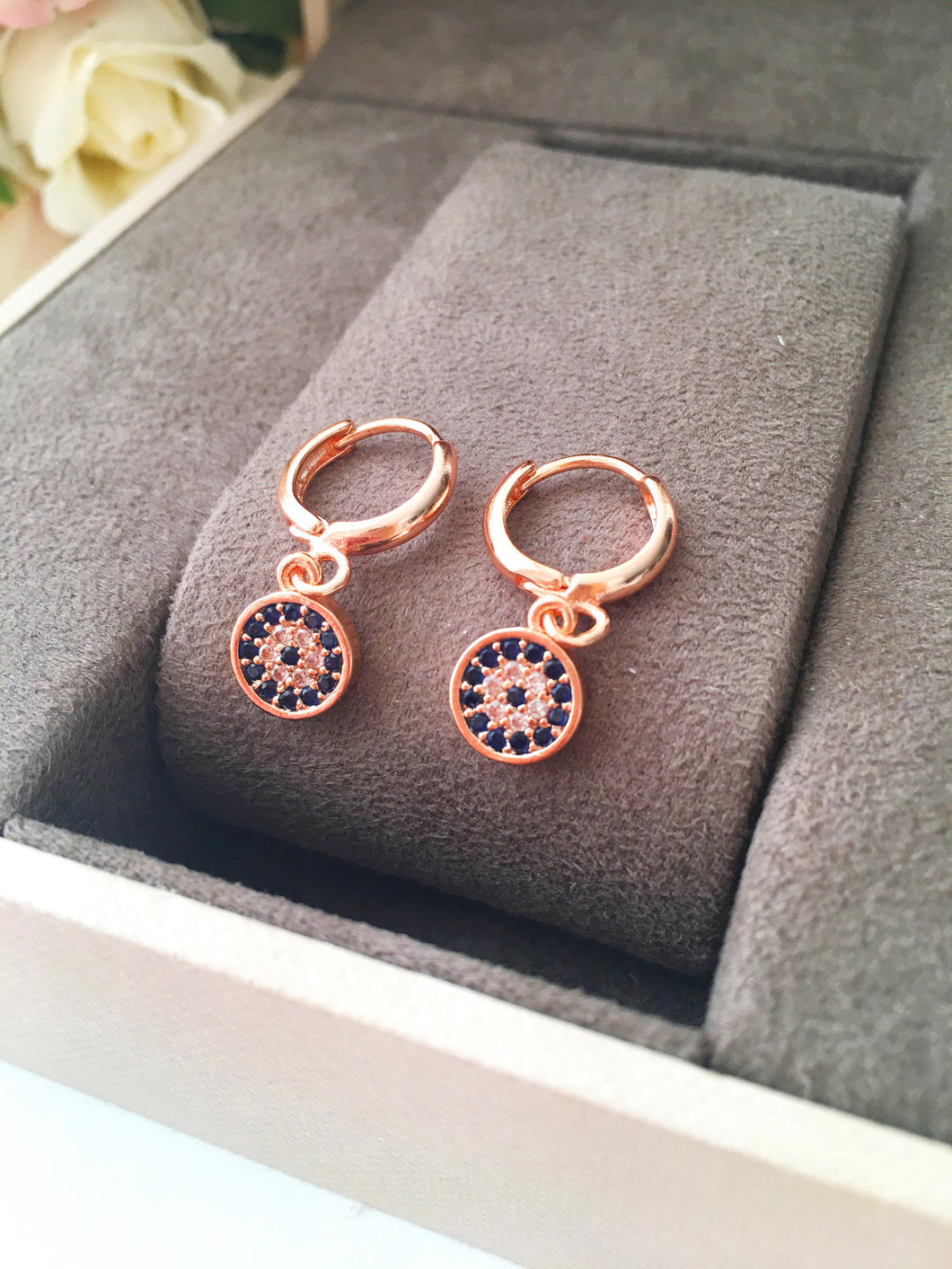 Greek Evil Eye Hoop Earrings - Evileyefavor