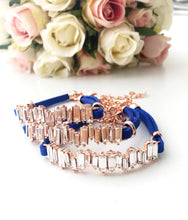 Cz Baguette Bracelet, Rose Gold Leather Bracelet - Evileyefavor