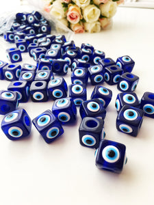 Blue evil eye glass beads | 5 pcs square evil eye beads | evil eye connector beads - Evileyefavor