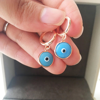Turquoise hoop earrings - Evileyefavor