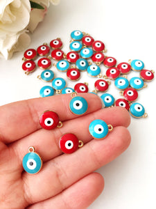 5 pcs Evil eye charm | evil eye charm for necklace | gold plated evil eye bead - Evileyefavor