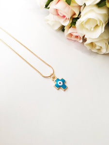 PROMO Cross evil eye necklace, evil eye pendant necklace, blue cross charm necklace - Evileyefavor