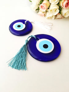 Evil eye beads, bulk gifts, 7cm, wedding favor for guest, evil eye charm with tassel - Evileyefavor