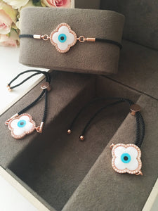 Evil Eye Bracelet, Clover Bracelet, Mother of Pearl - Evileyefavor