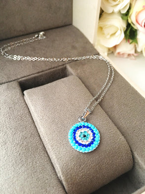 Evil eye necklace, turquoise beads necklace, turquoise evil eye necklace - Evileyefavor