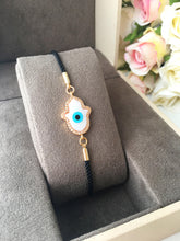 Hamsa Evil Eye Bracelet, Adjustable Bracelet, Mother of Pearl Bracelet - Evileyefavor