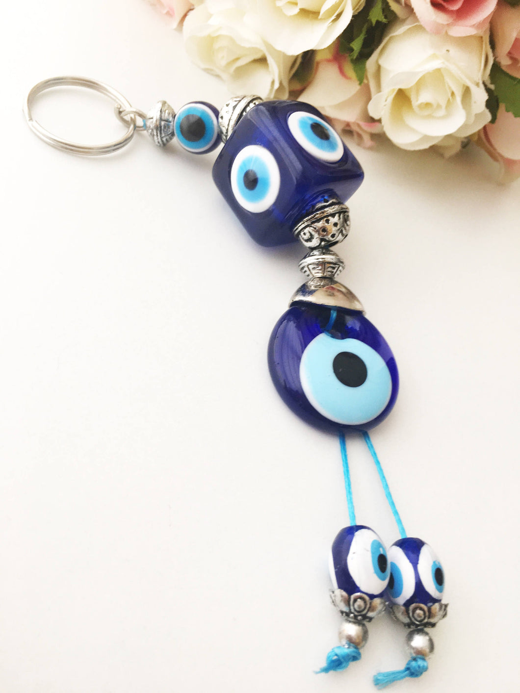 Evil eye key chain, square evil eye beads, evil eye key ring, evil eye bag charm - Evileyefavor