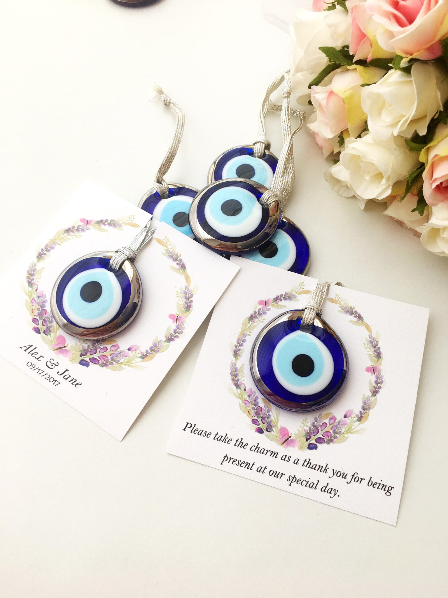 Wedding favors for guest, silver evil eye charms, nazar boncuk ...