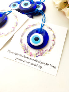 Blue evil eye nazar boncuk with personalized card - Evileyefavor