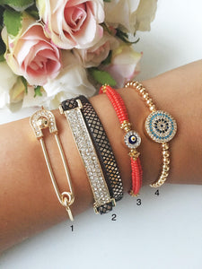 Turkish Evil Eye Bracelet Set, Evil Eye Jewelry, Gold Bangles - Evileyefavor