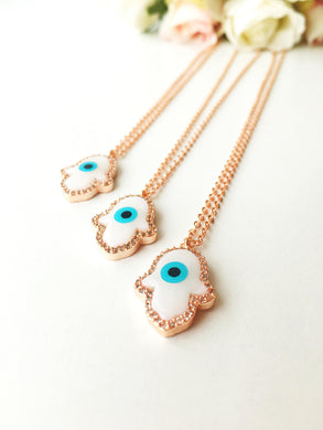 Hamsa necklace, evil eye bracelet, rose gold hamsa hand necklace, mother of pearl - Evileyefavor