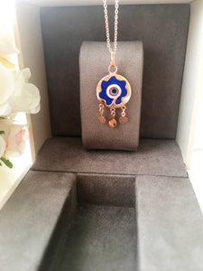 Blue evil eye necklace, murano necklace, rose gold necklace, charm necklace, evil eye charm - Evileyefavor