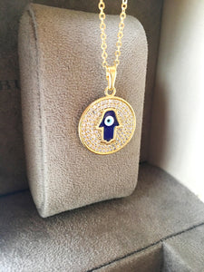 Hamsa necklace, blue evil eye necklace, gold plate disc necklace, hamsa charm necklace - Evileyefavor