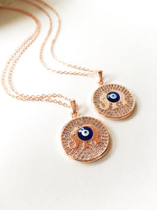 Evil eye necklace, elephant necklace, evil eye plate necklace, good luck necklace, elephant charm necklace, disc plate necklace, rose chain - Evileyefavor