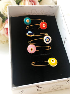 Evil eye safety pin, unique baby shower favors, baby boy pins, evil eye pins, evil eye stroller pin, baby gift box, birth gift, baby girl - Evileyefavor