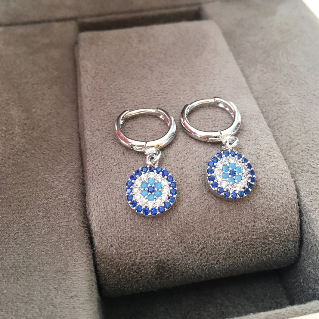 Silver Evil Eye Earrings - Evileyefavor