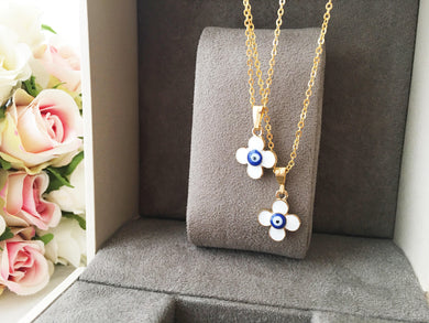 Four leaf clover necklace, evil eye necklace, white evil eye charm necklace - Evileyefavor
