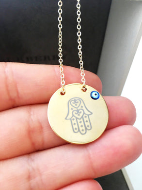 Evil eye necklace, hamsa necklace, hamsa evil eye necklace, gold plate necklace - Evileyefavor