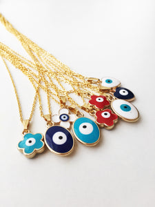 Evil eye necklace, evil eye charm necklace, clover charm necklace, evil eye jewelry - Evileyefavor