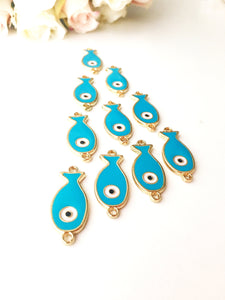 Evil eye charm, turquoise pendant, 2 pcs fish charm for necklace, evil eye pendant, evil eye necklace charm, small fish evil eye, nazar - Evileyefavor
