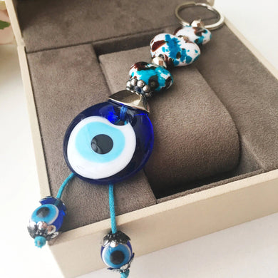 Evil eye key chain, ceramic heart charm keychain, evil eye key ring - Evileyefavor