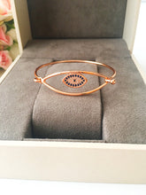Evil Eye Bangle Bracelet, Rose Gold Silver Cuff Bracelet - Evileyefavor