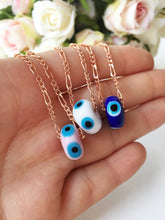 Evil eye necklace, murano necklace, blue evil eye charm necklace, rose gold necklace - Evileyefavor