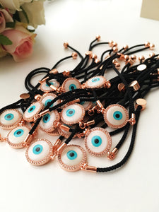 Round Evil Eye Bracelet, Black String Bracelet, Mother of Pearl charm - Evileyefavor