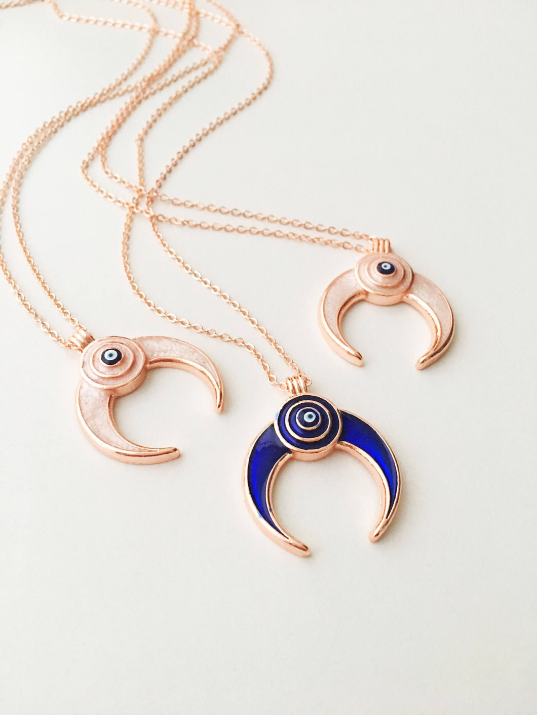 Double horn necklace, evil eye necklace, crescent moon necklace, evil eye horn necklace - Evileyefavor