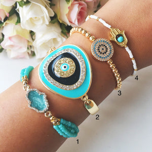 Greek Evil Eye Bracelet, Turquoise Bead Bracelet, Adjustable Gold Bracelet - Evileyefavor