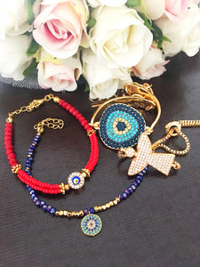 Evil Eye Bracelet Collection, Adjustable Seed Beads - Evileyefavor