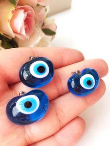 Murano glass evil eye pendant - lampwork evil eye bead - blue evil eye nazar pendant - turkish greek evil eye - lampwork jewelry supplies - Evileyefavor