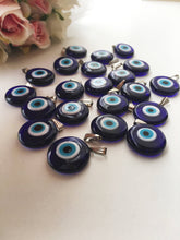 Evil eye beads, blue evil eye charm, murano glass beads, evil eye charm for necklace - Evileyefavor