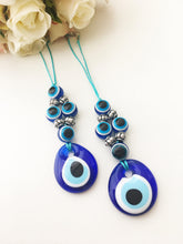 Blue evil eye beads car rear view mirror charm - Evileyefavor