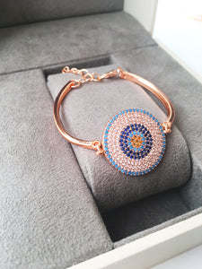 Evil Eye Bracelet Set, Rose Gold Bracelet, Bangle Bracelet - Evileyefavor