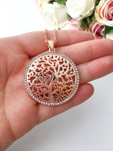 Tree of life necklace, family tree necklace, rose gold necklace, long chain necklace - Evileyefavor