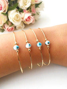 Evil Eye Beaded Bangle Bracelets, Gold Rose - Evileyefavor