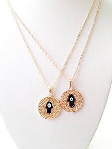 Hamsa necklace, blue evil eye necklace, gold plate disc necklace, rose gold necklace - Evileyefavor