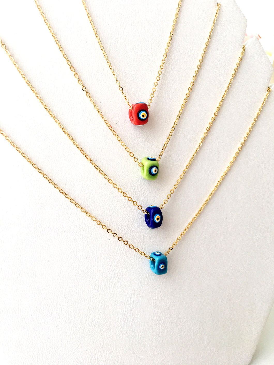Evil eye necklace, murano glass necklace, blue evil eye beads, murano glass evil eye beads - Evileyefavor