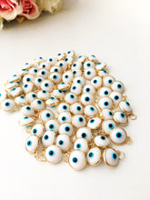 Evil eye charm, glass white evil eye bead, bulk evil eye jewelry, nazar boncuk, luster gold frame beads, mini evil eye charm, necklace charm - Evileyefavor