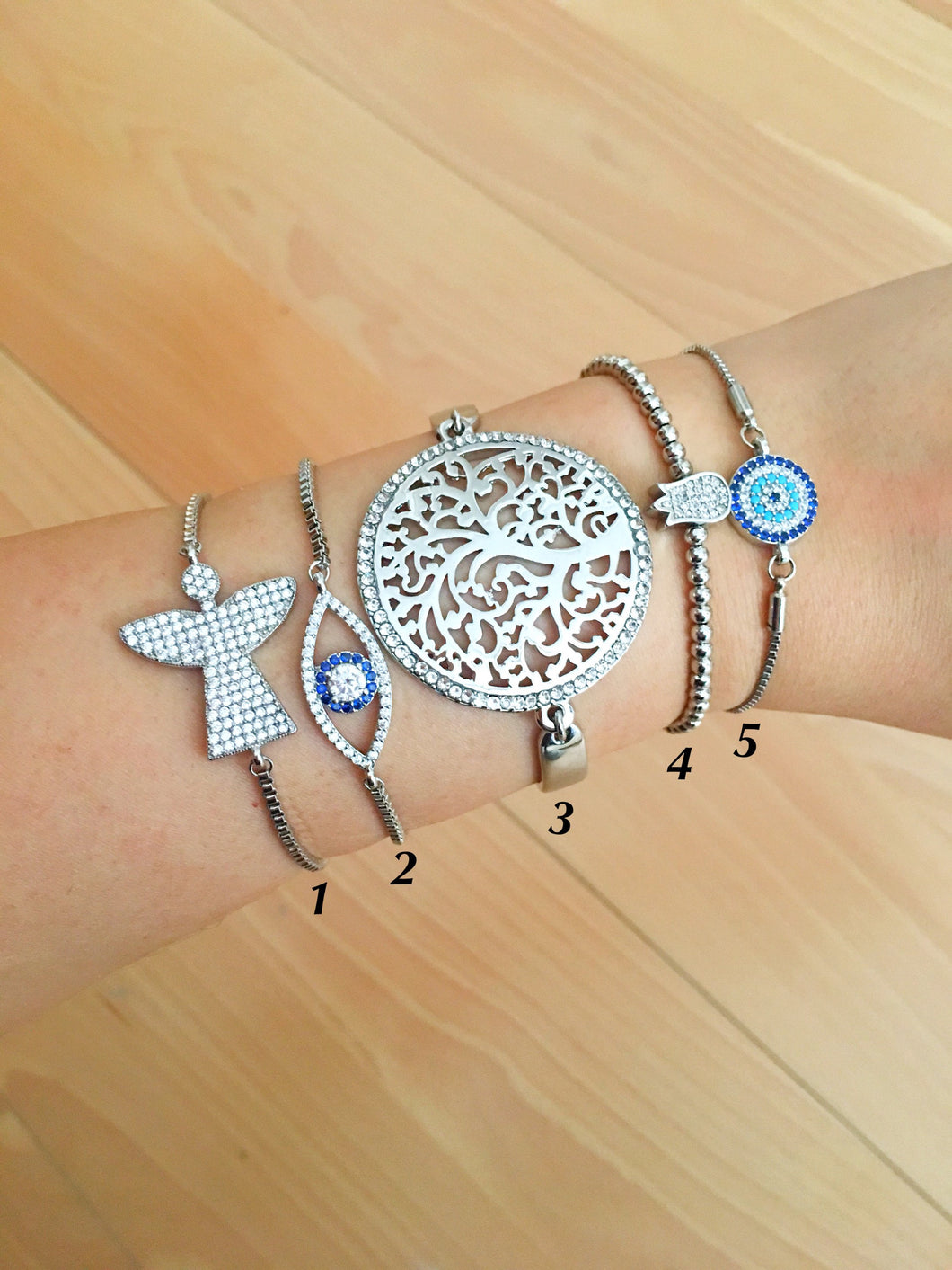 Silver Evil Eye Bracelet Set, Adjustable Charm Bracelet, Tree of Life Tulip Charm - Evileyefavor