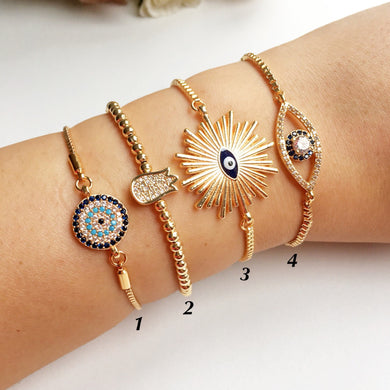 Gold Evil Eye Bracelet, Adjustable Greek Jewelry - Evileyefavor