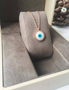 Evil eye necklace, mother of pearl charm necklace, rose gold clover necklace - Evileyefavor