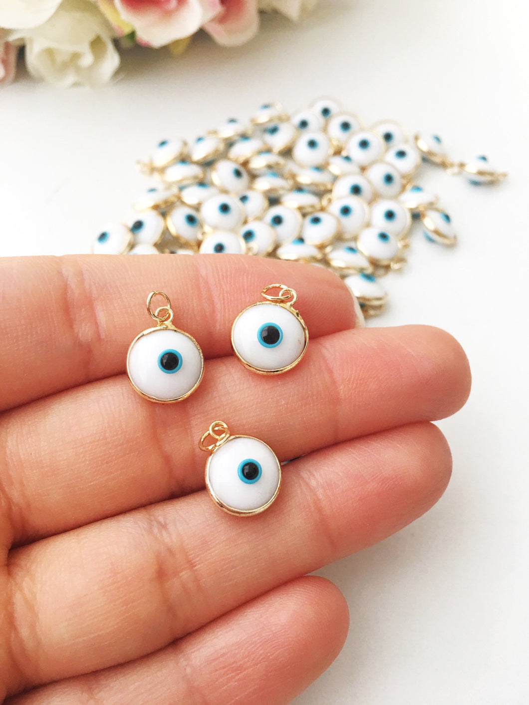 White evil eye beads, evil eye charm, glass evil eye charm, evil eye connector - Evileyefavor