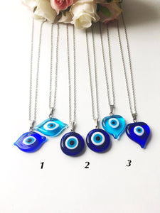 Evil eye necklace, blue evil eye bead, evil eye charm necklace, nazar boncuk - Evileyefavor