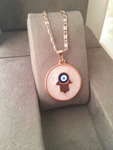Evil eye necklace, rose gold plate necklace, hamsa charm necklace, elephant necklace - Evileyefavor